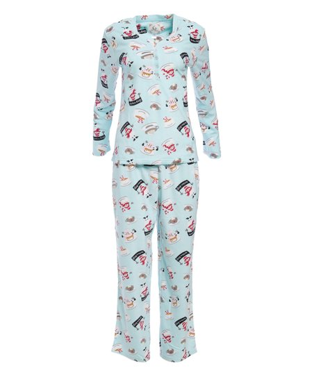 42c8470db478 PJ Couture Aqua Snowman Fleece Pajamas   Pink Plush Blanket Gift Set ...