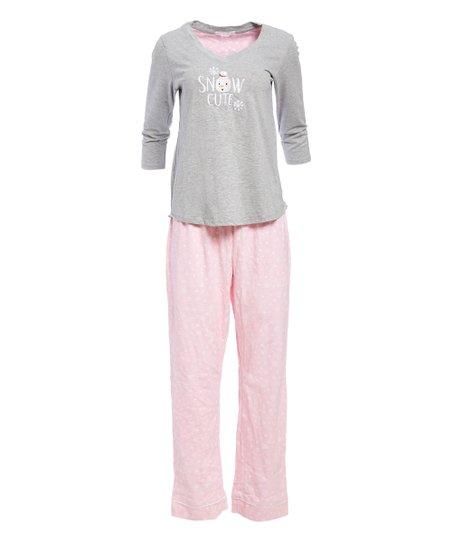 9d6eb625b6fc love this product Pink Heart Snowflake  Snow Cute  Pajama Set - Women