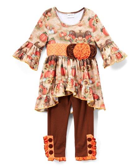 Ruffles by Tutu and Lulu Orange & Brown Pumpkin Hi-Low Dress & Pants - Toddler & Girls