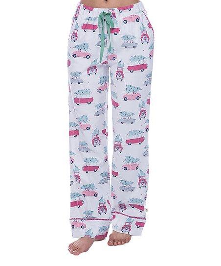 Christmas Pajama Pants.Munki Munki White Christmas Tree Car Flannel Pajama Pants Women