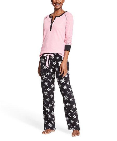 love this product Pink   Black Thermal Snowflake Pajama Set - Women 3721ee8bb