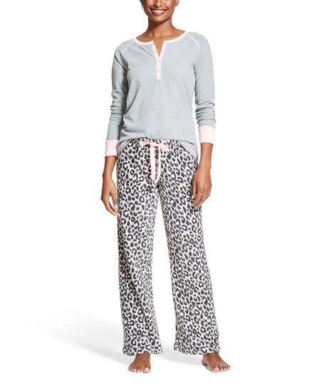 Sleep   Co Heather Gray Thermal Leopard Print Pajama Set - Women ... fef094573