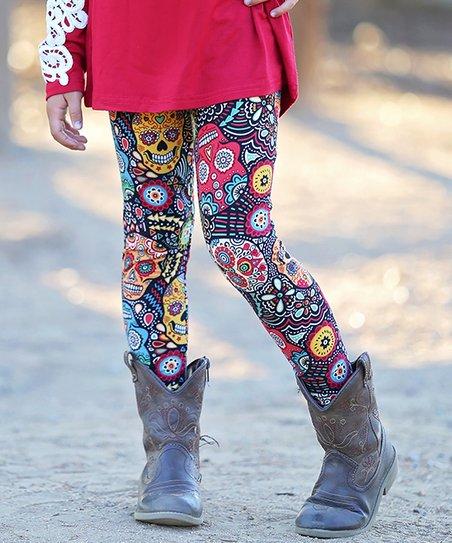 a04c870ae78ff Mayah Kay Fashion Boutique Black & Red Sugar Skull Leggings - Girls ...