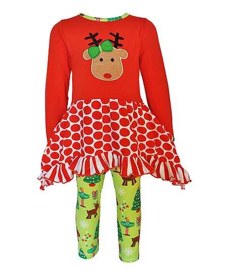 c54e83a6fa2a1 love this product Red & Green Reindeer Tunic & Leggings - Toddler & Girls