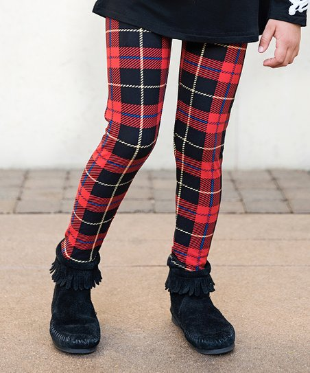be093bf375507 Mayah Kay Fashion Boutique Black & Red Plaid Leggings | Zulily