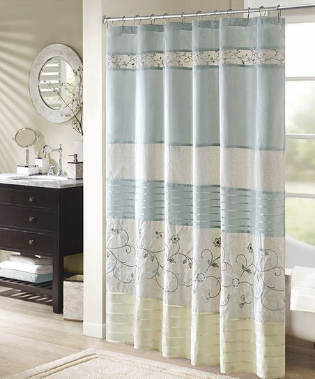 Aqua Embroidered Floral Serene Faux Silk Shower Curtain