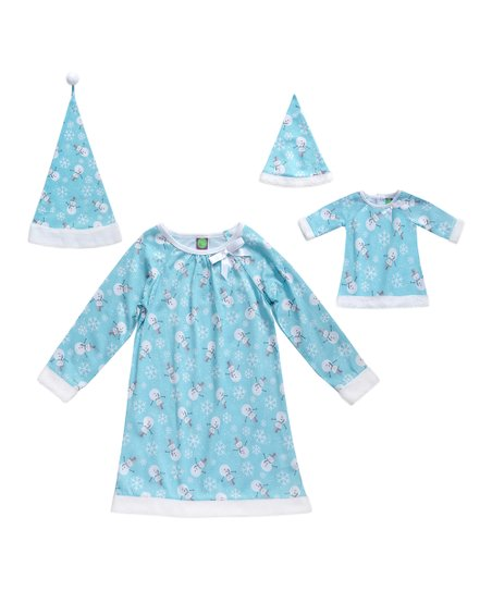 19aa02dfc67c love this product Blue Snowman Pajama & Doll Outfit Set - Toddler & Girls