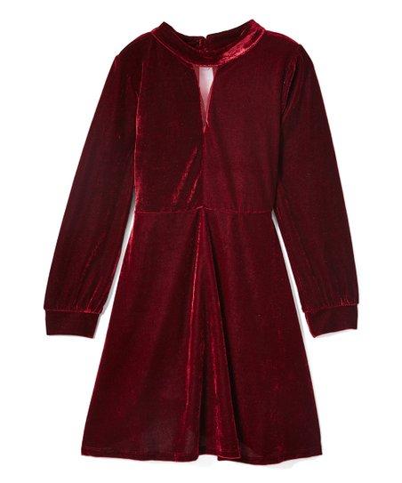 c8e3c5ffe157 OK Girl! Burgundy Velvet Mock Neck A-Line Dress - Girls