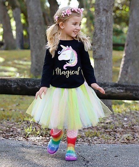 908dc8535cd54 love this product Pink & Black Unicorn Top & Skirted Leggings Set - Toddler