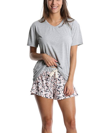 5ea221f4e0151 love this product Heather Gray   Blush Floral  Born to Sleep  Pajama Set -  Juniors