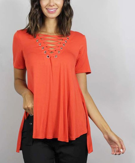 bb4907cd3478 Good Stuff Tomato Red Lace-Up Swing Top | Zulily