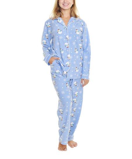 b3d7dcfc5a47 Angelina Blue Snowman Fleece Pajama Set - Women
