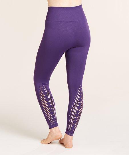 c8cd434d868a1 love this product Purple Seamless Leaf-Cutout Tummy-Control High-Waist  Leggings - Women & Plus