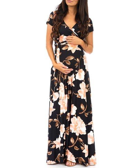 a9faa455bbf5a Mother Bee Maternity Black Floral Tie-Waist Maternity Maxi Dress ...