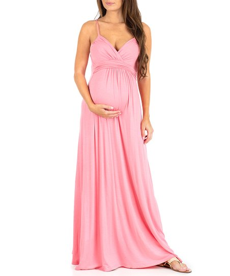 e56a8e18808a9 Mother Bee Maternity Light Coral Ruched Maternity Maxi Dress - Women ...