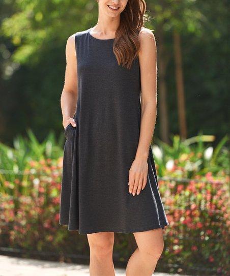4f8d8b34b7e88 love this product Charcoal Side-Pocket Sleeveless Dress - Women   Plus