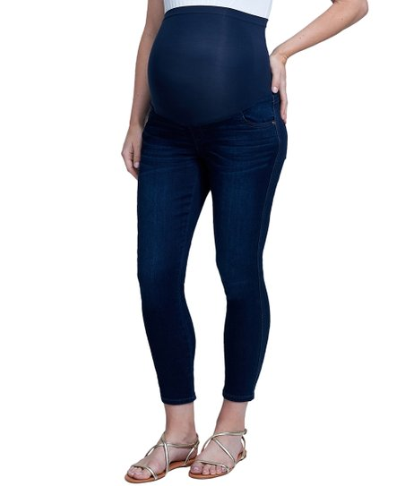 08e08b93718 Seven7 Clifton Blue Over-Belly Maternity Ankle Skinny Jeans