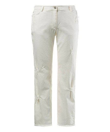 Ulla Popken White Distressed Jeans Women Zulily