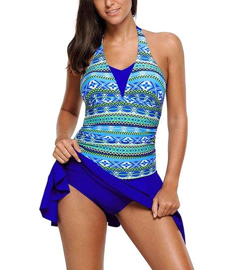 8976208b36d Dear Lover Blue & Green Geometric Halter Swimdress - Women   Zulily