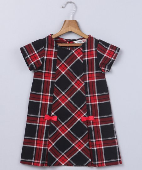 39e10f328 love this product Red & Black Tartan Bow-Accent Shift Dress - Newborn,  Infant, Toddler & Girls