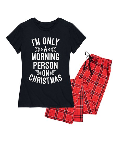 love this product Black   Red Plaid  Morning Person on Christmas  Pajama Set 520958efe