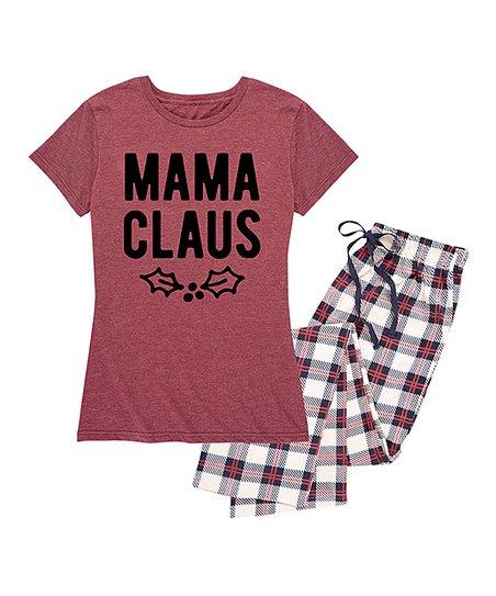 731c6c57d3d1 love this product Heather Wine   Ivory Plaid  Mama Claus  Pajama Set - Women