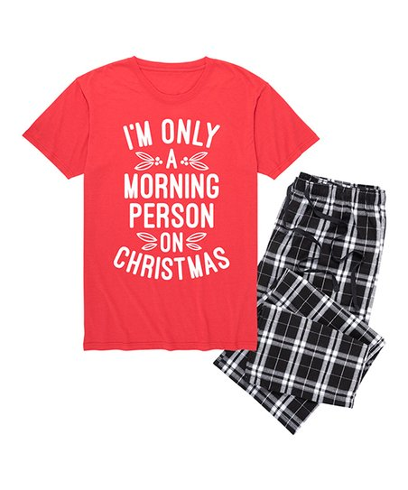 love this product Red   Black Plaid  Morning Person on Christmas  Pajama Set ef355032e