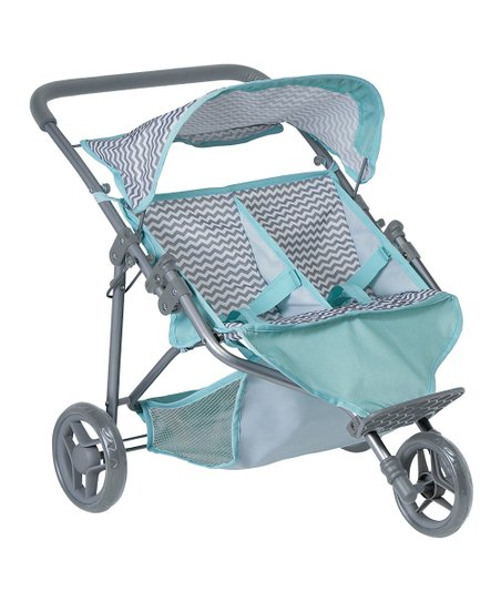 Mint & Gray Zig-Zag Twin Jogger Stroller for 16'' Doll