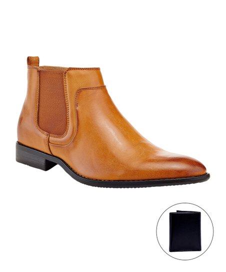 1f7377b21ce388 Franco Vanucci Tan Side-Zip Chelsea Boot - Men | Zulily