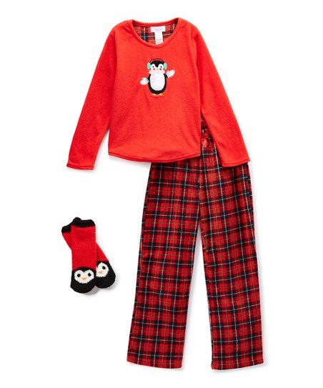 92f50fb3542a René Rofé Girl Red   Black Penguin Oh What Fun Pajama Set - Girls ...