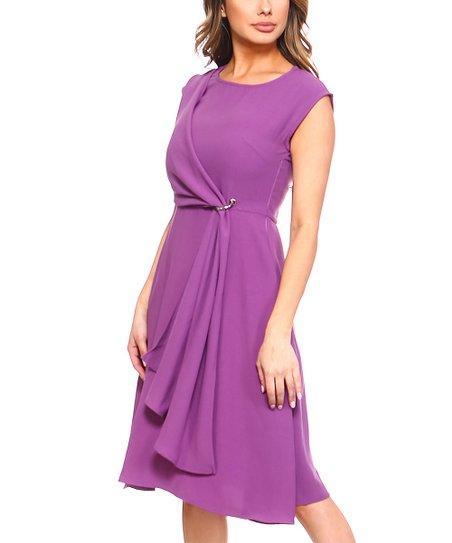 bba3068b33377 love this product Purple Tie-Waist A-Line Dress - Women