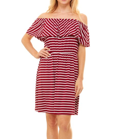 3bb9d61ca1f9 love this product Burgundy   White Stripe Off-Shoulder Dress - Women