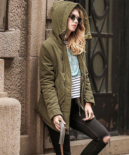 edba2c38fa4 Xiupai Green Fleece-Lined Hooded Zip-Up Jacket - Women & Plus