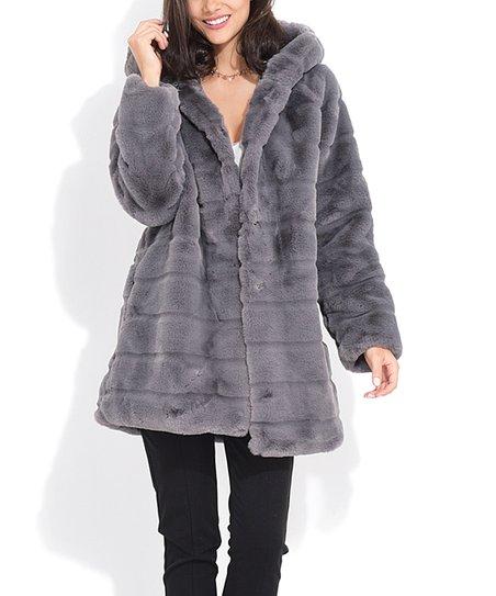 c5f9a61bce8d Charlotte et Louis Gray Stitch-Accent Hooded Faux Fur Coat - Women ...