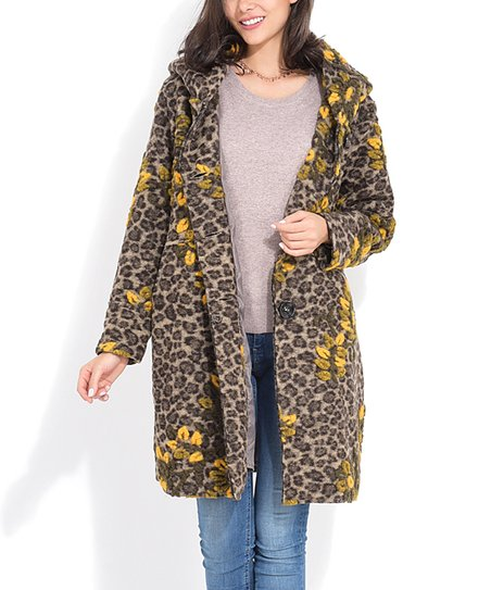 bd2149bff689 Charlotte et Louis Yellow Leopard & Floral Wool-Blend Coat - Plus ...
