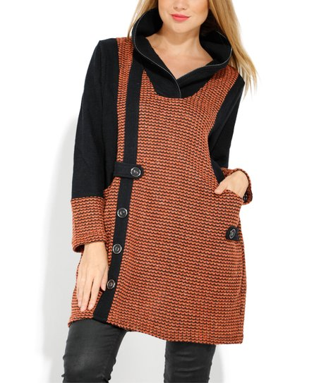 4c7a25657009 love this product Orange Tweed Button-Detail Collared Long-Sleeve Dress -  Women & Plus