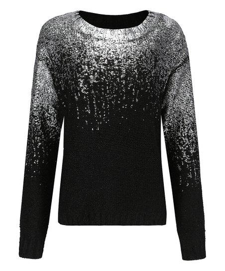 6a6c5f7a86b3a3 Maison Mascallier Black & Silver Top-Foil Sweater - Women | Zulily