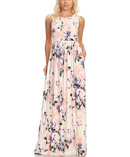 cf950496f48f7 PB Couture Blush Floral Side-Pocket Maxi Dress - Women | Zulily