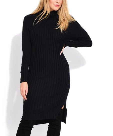 La Fille du Couturier Black Ribbed Turtleneck Sweater Dress - Women ... 1835172be9
