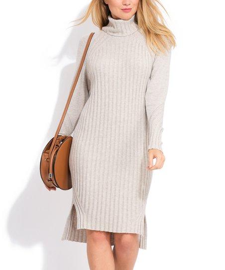 38eca173731c La Fille du Couturier Beige Ribbed Turtleneck Sweater Dress - Women ...