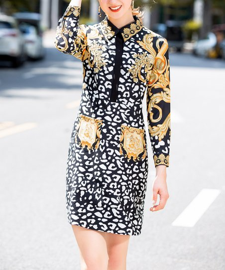 ea974cb2ff90 Burryco Black & Yellow Leopard Shirt Dress | Zulily