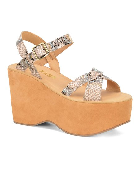 9a5519f628b love this product Off White Snakeskin Print Heights Leather Sandal - Women