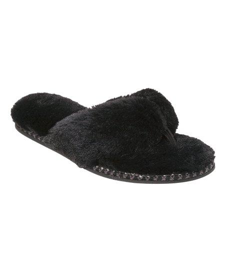 ed61f6fb211d Dearfoams Black Faux Fur Thong - Women