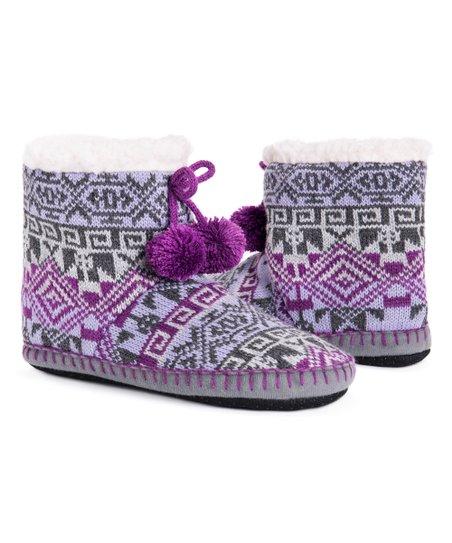 ace2644211ab1 love this product Purple Petunia Geometric Pom Pom Slipper Boot - Women