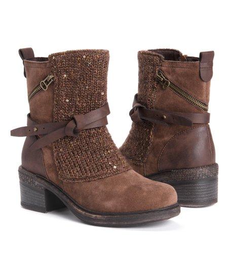 Muk Luks Dark Brown Belt Accent Sharon Ankle Boot - Women  a40f508257