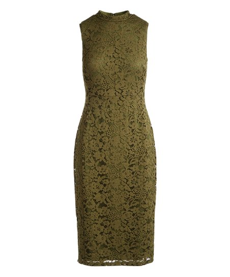 love this product Tea Green Lace Mock Turtleneck Sheath Dress - Women bfe655118