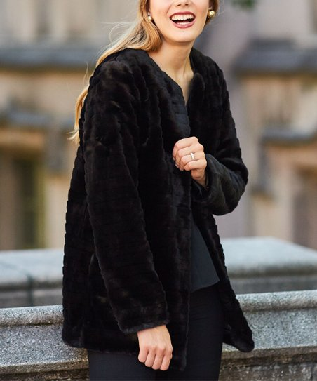 78527b3f8 love this product Black Textured Faux Fur Coat - Women
