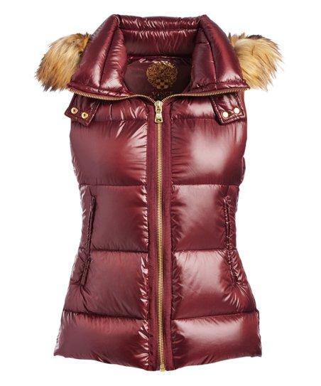 c4288ff14b4 love this product Bordeaux & Faux-Fur Hooded Down Vest - Women