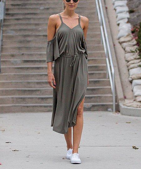 61cd8ceccaf3 love this product Sage Green Split-Hem Halter Midi Dress - Women   Plus