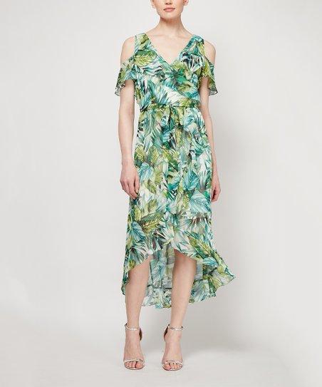 610200054af SLNY Green Floral Cold Shoulder Midi Dress - Women